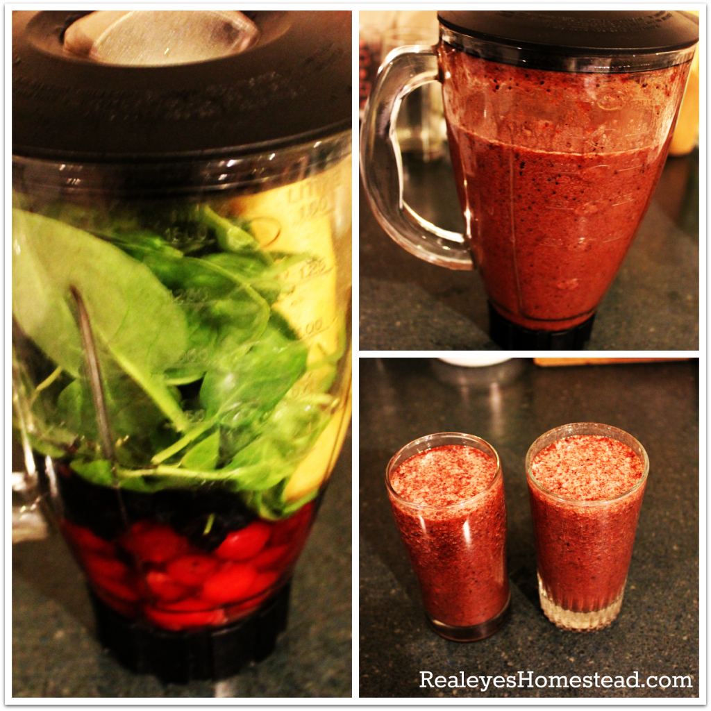 Cherry, blueberry, spinach, banana