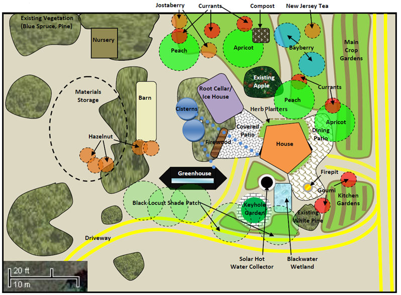 Realeyes farm permaculture design zone 1 layout details Small farm plans layout